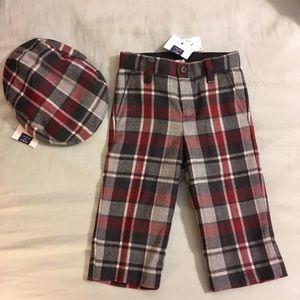 Janie & Jack Dapper Plaid Pants & Matching Hats